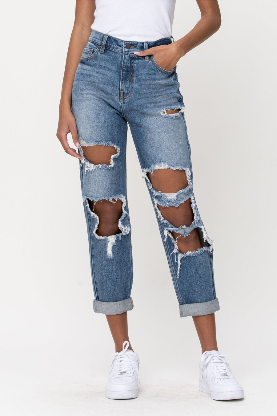 High Rise Double Rolled Cuff Distress Mom Jean