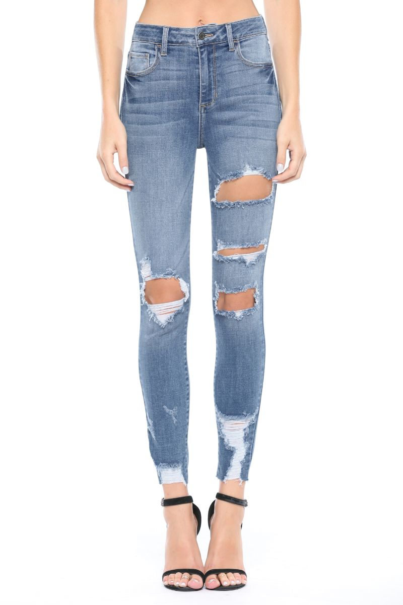 High Rise Distress Rayon Crop Skinny