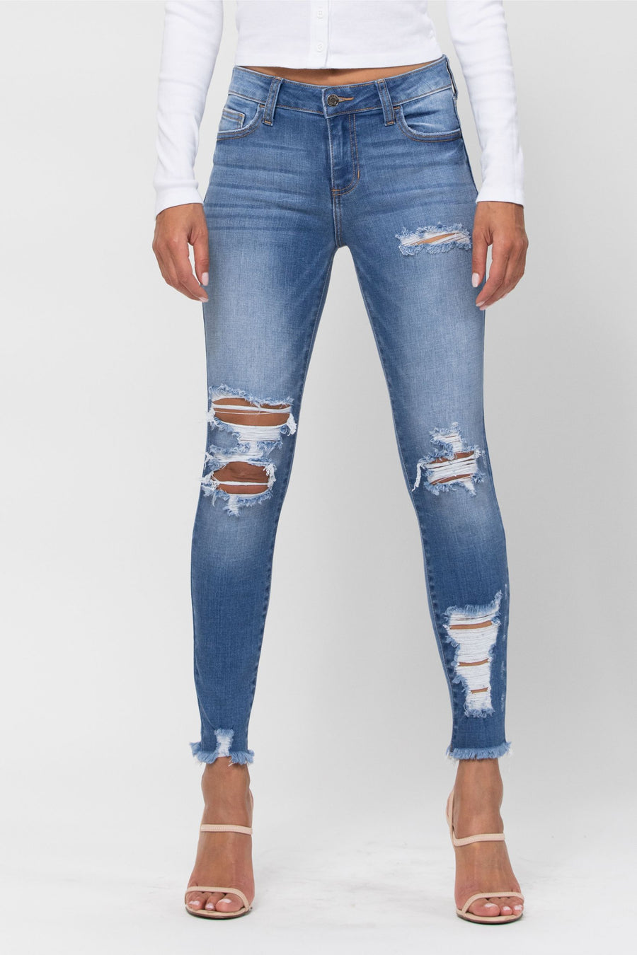 Mid Rise Distress Frayed Hem Crop Skinny