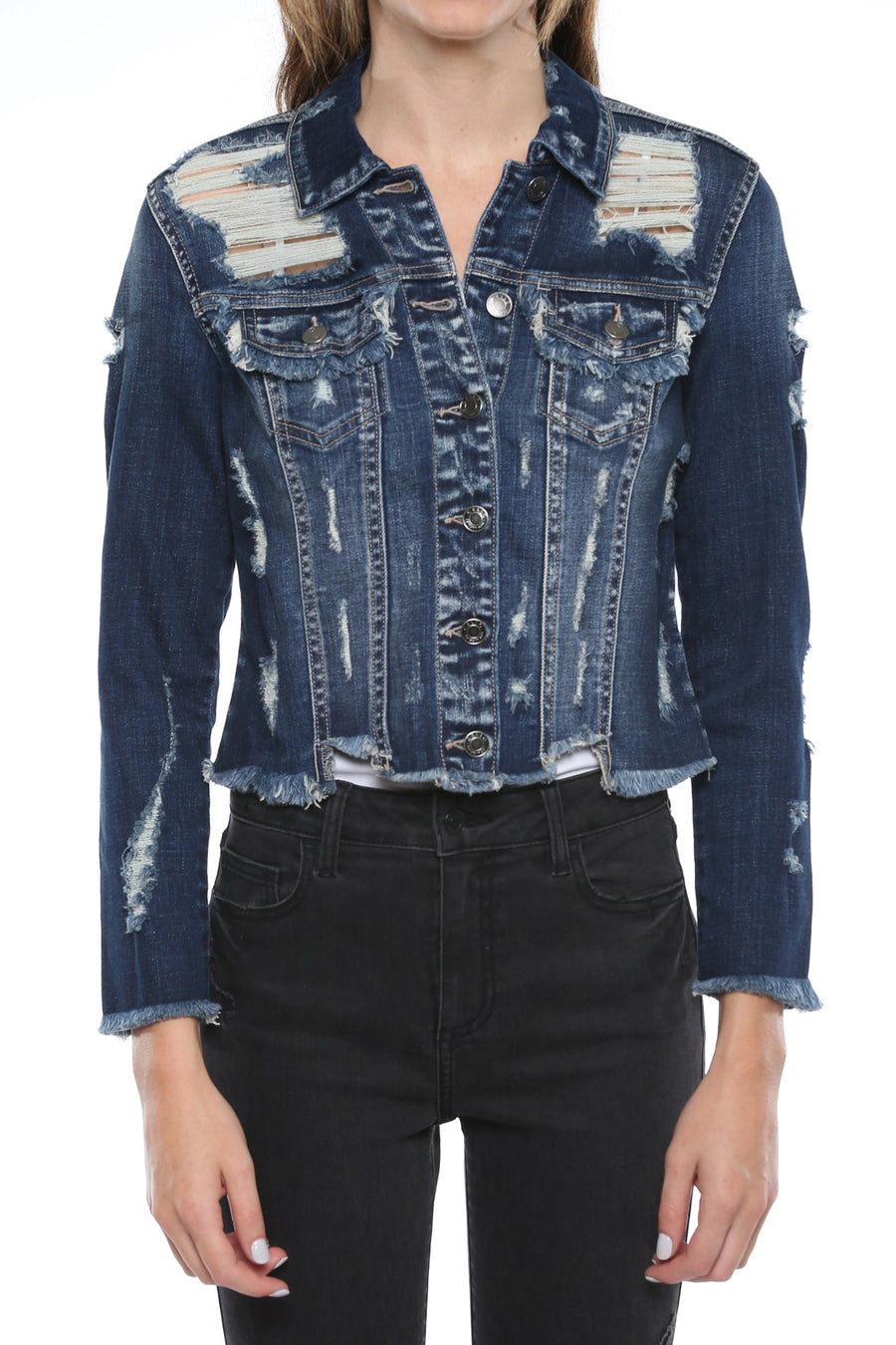 Mid Length Dark Wash Fray Edge Denim Jacket