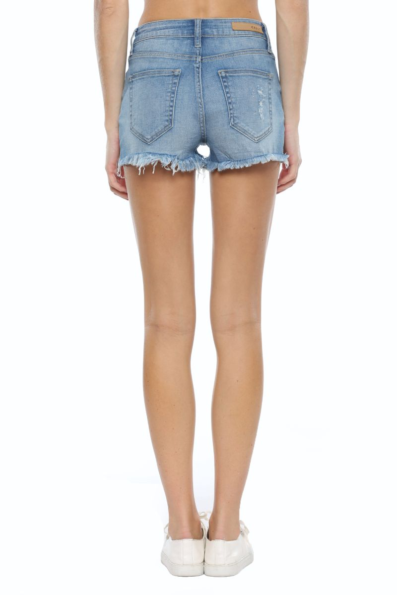 Medium Denim Raw Hem Short