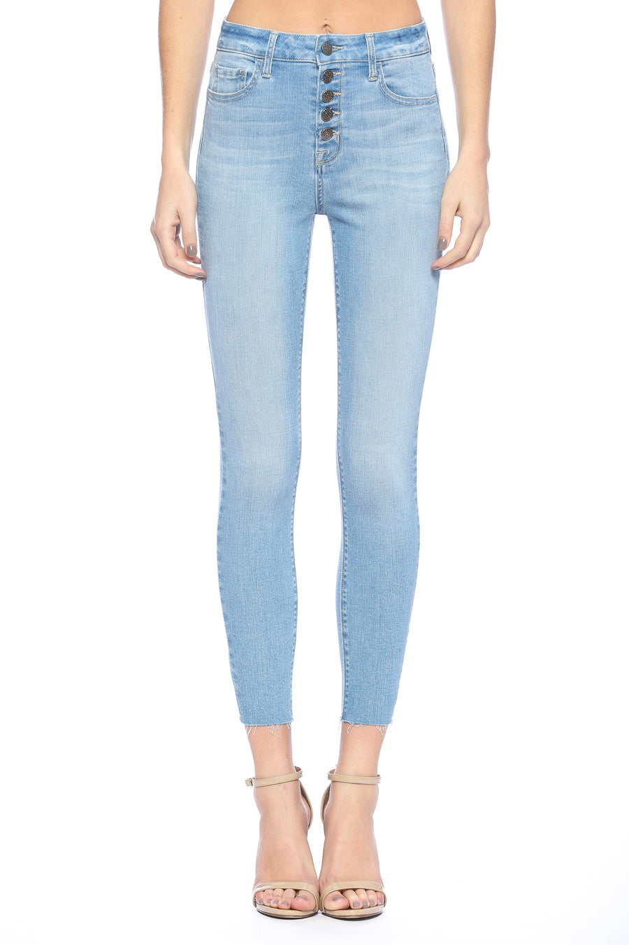 High Rise Exposed Button Light Wash Skinny
