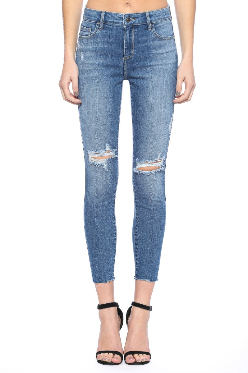 Mid Rise Distress Knee & Hem Crop Skinny