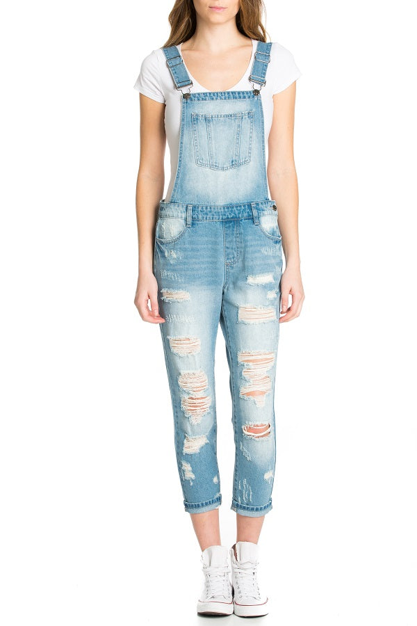 Medium Blue Distressed Overalls