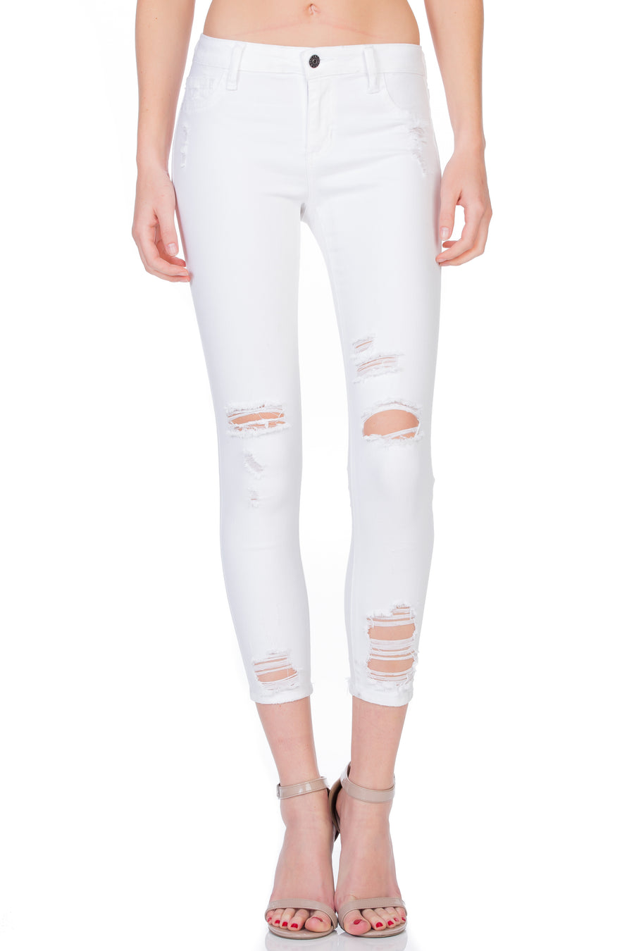 White Destroyed Ankle Cutout Skinny
