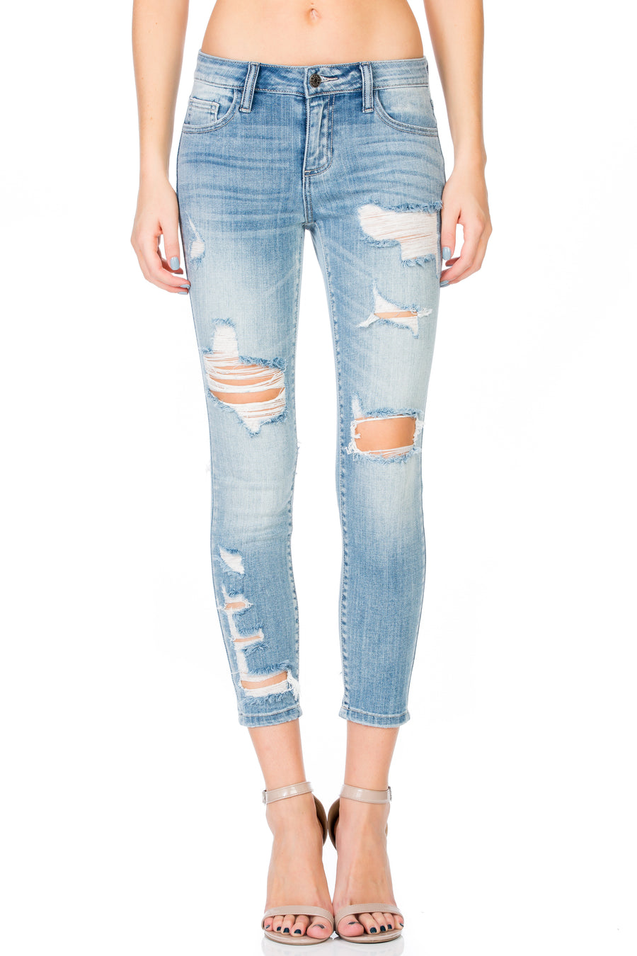 Distressed Ankle Cropped Skinny