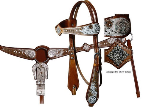Showman ® headstall and breast collar set featuring hair on cowhide and crystal rhinestone conchos.MPN 12692