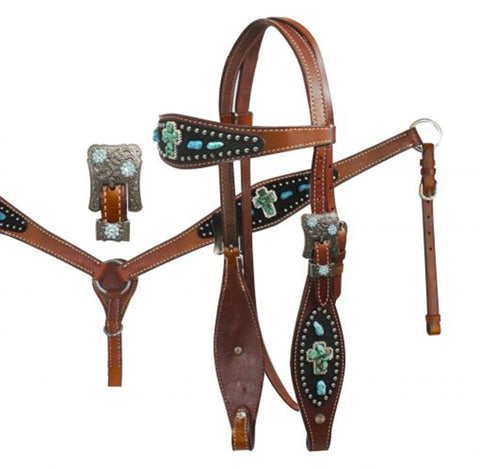 Showman ® Crystal Rhinestone Crosses Headstall and Breast Collar Set..  MPN 12759