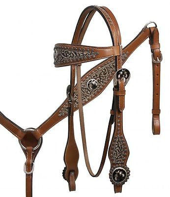 Showman Filigree overlay headstall and breast collar set with cross guns conchos. MPN 7002