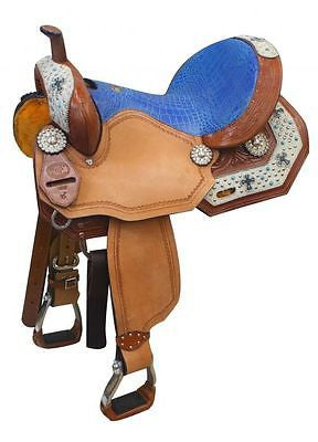 "13"" Double T barrel saddle with hair on accents.   MPN 46013"