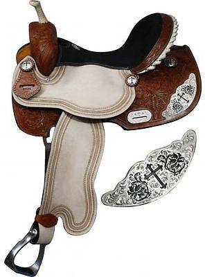 "15"", 16"" Double T Barrel style saddle with engraved silver cross accentsMPN 6539"