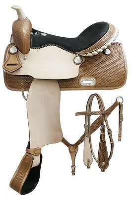 "15"", 16"" Double T Barrel saddle set with basket weave tooling.  MPN 7654"