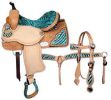 "14"", 15"", 16"" Double T barrel saddle hair on Teal zebra print seat MPN 6473set"