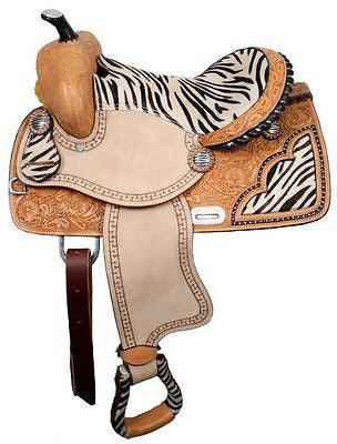 "13"" Double T youth barrel saddle with zebra print seat. MPN 638713"