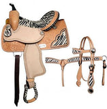 "14"", 15"", 16"" Double T Barrel Style Saddle Set with Hair On Zebra .MPN 6387set"