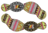 Showman ® Ladies size spur straps with multi color aztec design. MPN 30730