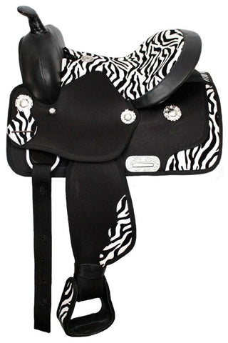 "12"",13"" Double T Cordura Saddle with Zebra Print Seat. (13"")"