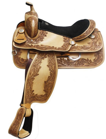 "16"" Double T Pleasure Style Saddle with Oak Leaf Tooling. MPN 3368"