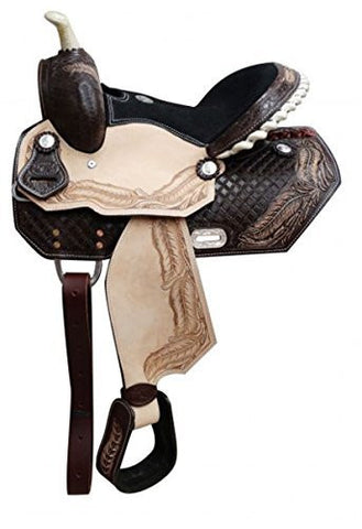 "13"" Youth Barrel Saddle with Tooled Feather Design. Semi Quarter Horse Bars"