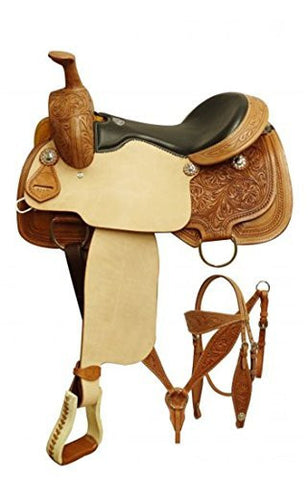 "16"" Double T Roper Style Saddle Set with Floral Tooling."