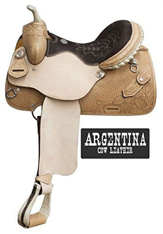"14"", 15"", 16"" Double T Argentina Cow Leather Barrel Style Saddle with Basket Weave Tooling and Knife Pocket. Full Quarter Horse (14"")"