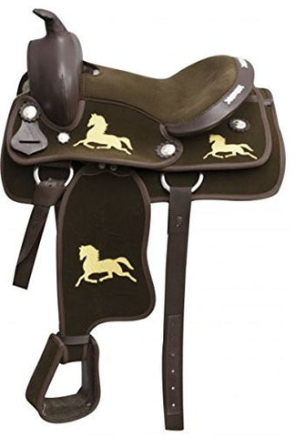 "12"" Nylon Cordura Youth Saddle with Horse Logo.. Semi Quarter Horse Bars"