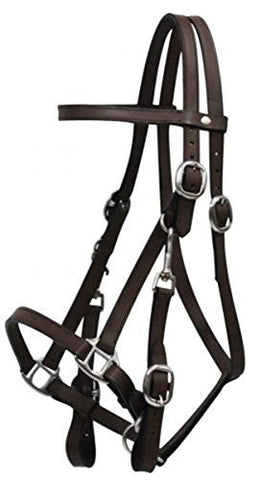 Leather Halter Bridle Combination with 7' Leather Split Reins. Features 4 Way Adjustment. (Dark Brown)