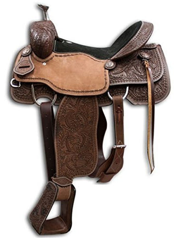"16"" Showman �� Argentina Cow Leather Roper Saddle with Oak Leaf Tooling. Warranty for Roping."