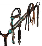 Showman ® Hair on cowhide inlay headstall and breast collar.