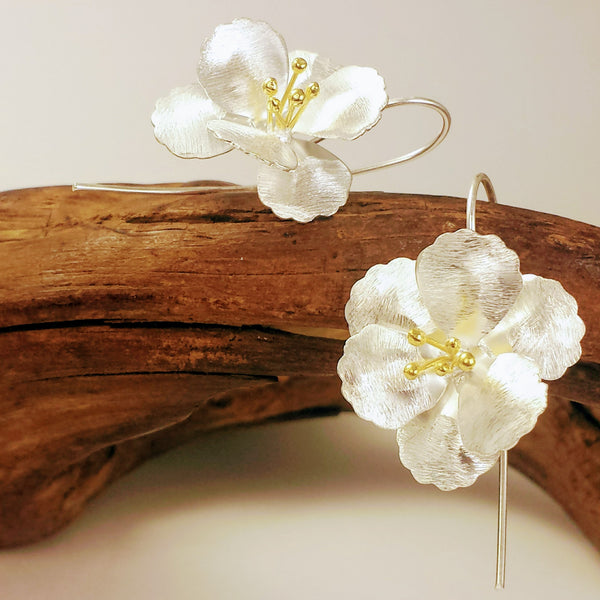 Oversized Blossom Dangle Long Hook Earrings in Silver