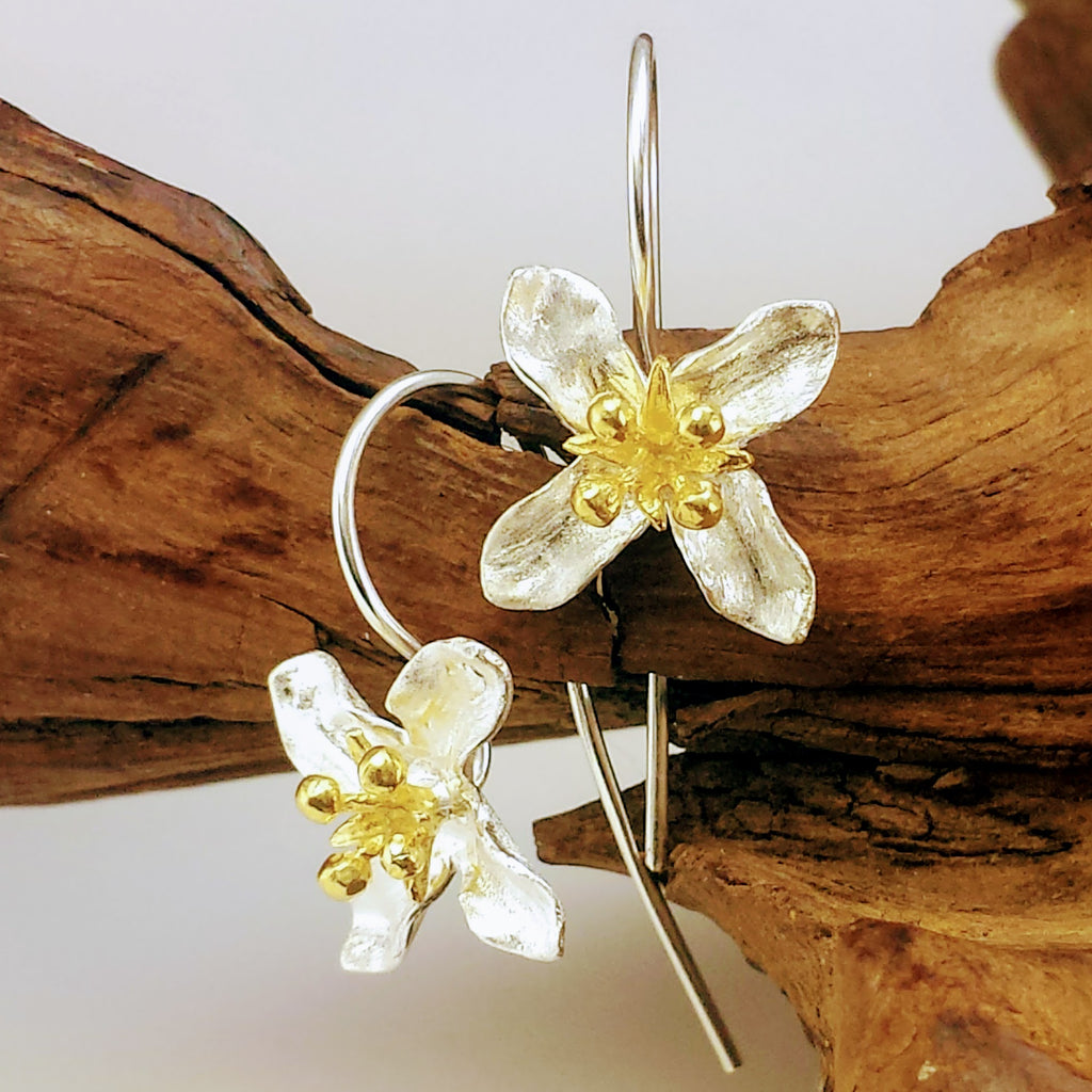 Sterling Silver Blooming Blossoms Four Point Earrings