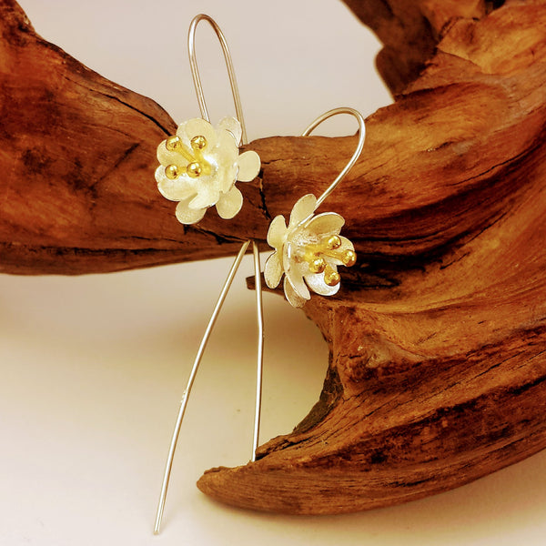Nature's Timeless Beauty Dual Tones Flower Threader Earrings