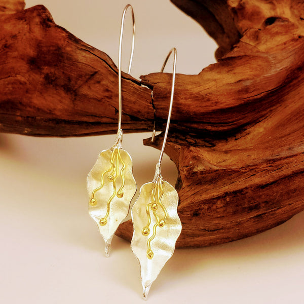 Silver Upscale Glamorous Dangle Flower Design Drop Hook Earrings