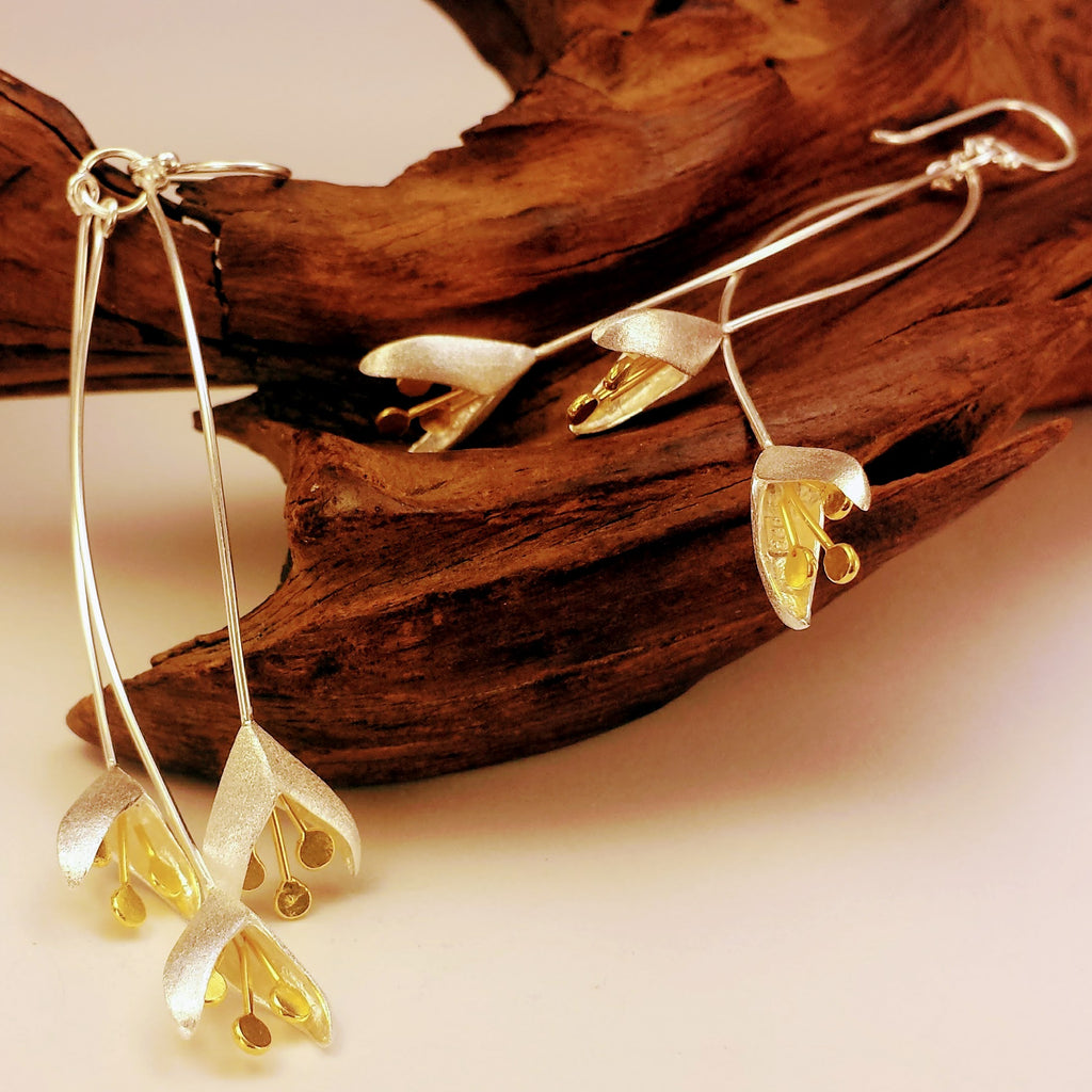Stunning Wishbone Upturned Flower Buds Drop Charm Earrings