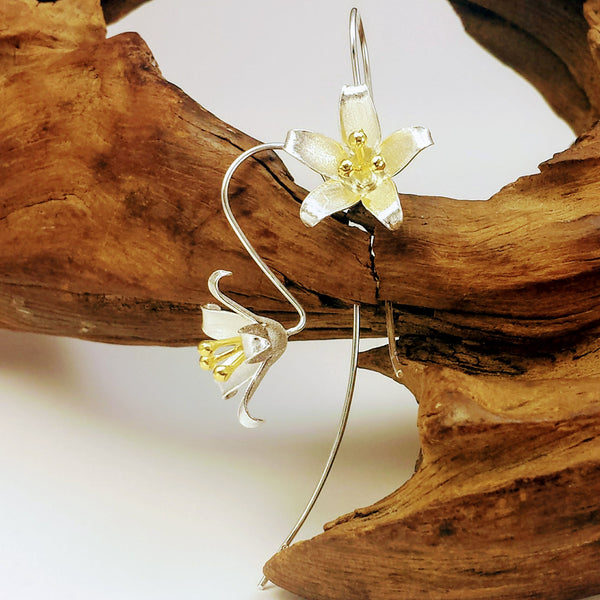 Floral Blossoms Sterling Silver Nature Threader Earrings