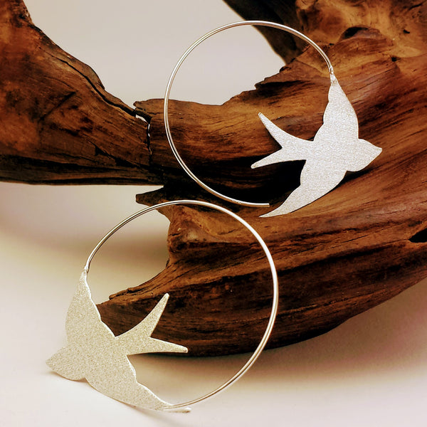 925 Matte Silver Dove Silhouette Bird Hoop Earrings