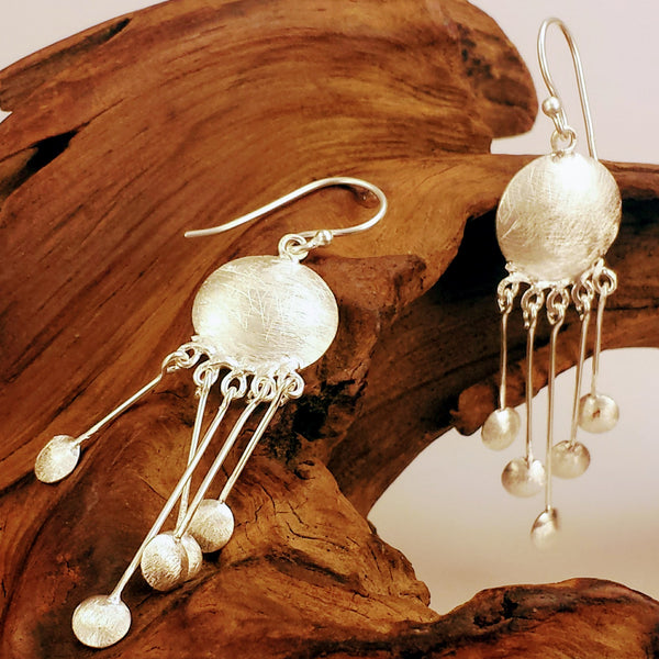 Silver Circular With Suspended Orb Charms Cool Dangle Drop Earrings