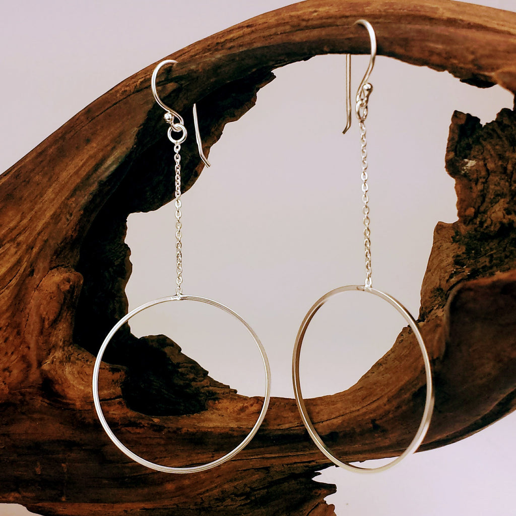 925 Silver Hoop Drop Dangle Earrings