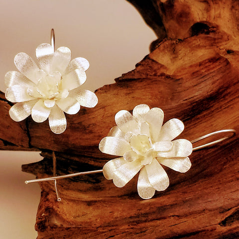 925 Sterling Silver Enchanted Dimensions Flower Earrings