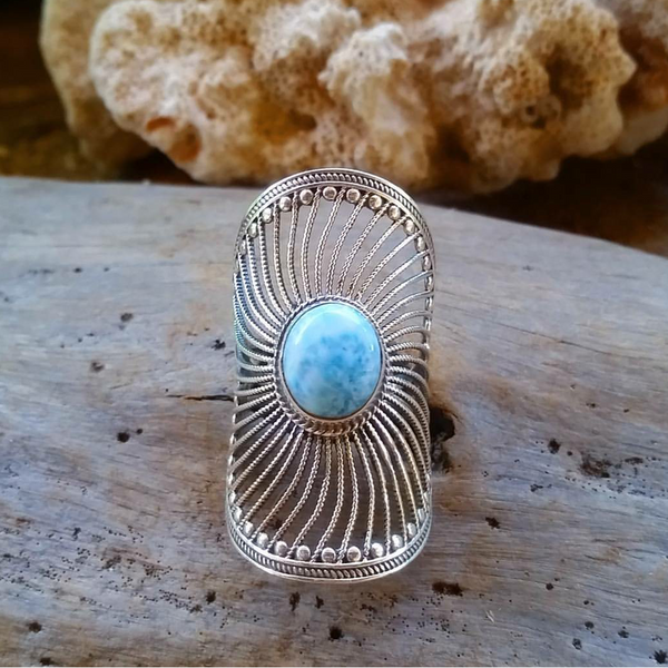 Indian Spiral filigree Larimar Ring