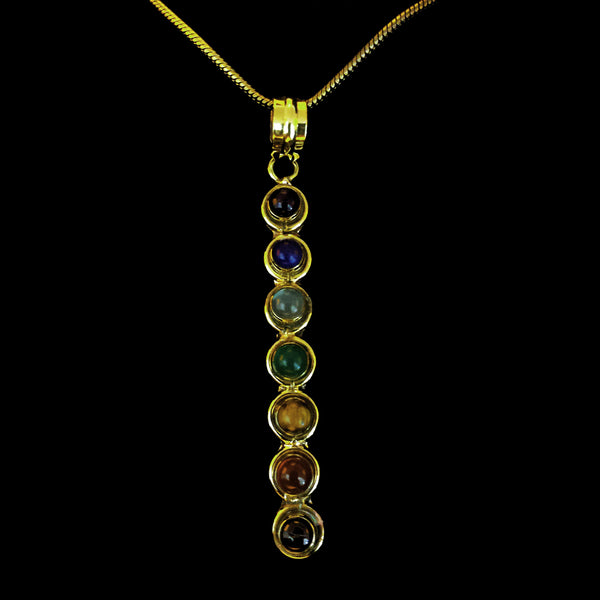 Chakras Brass Pendant with a Chain - BP-A10