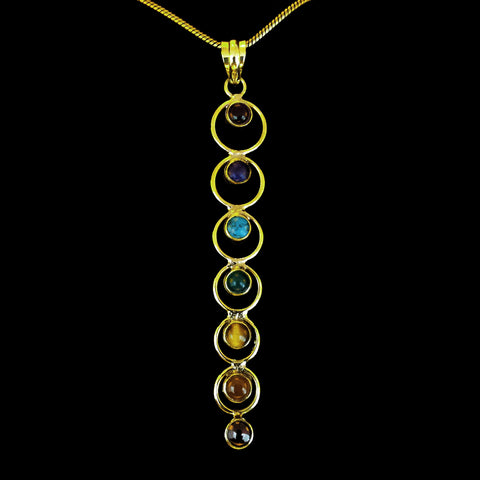 Chakras Brass Pendant with a Chain - BP-A11
