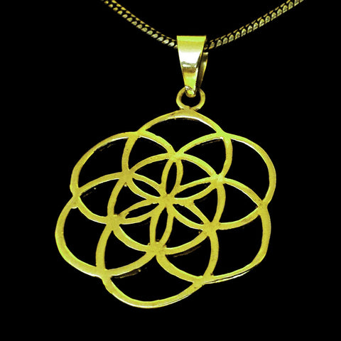 Flower of Life Brass Pendant with a Chain - BP-C1