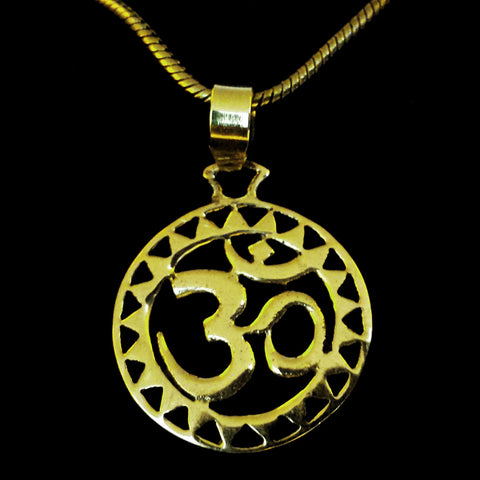 OM Brass Pendant with a Chain - BP-C6