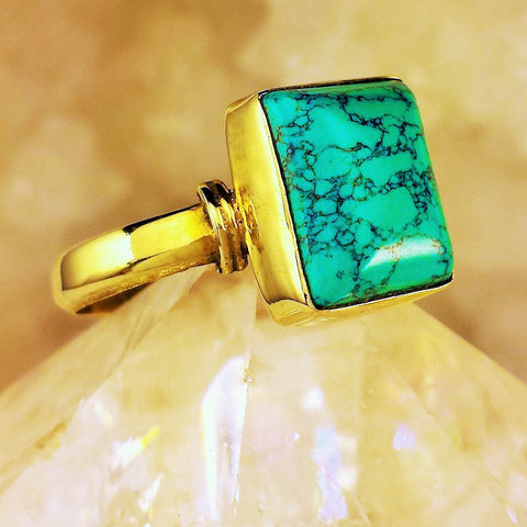 Brass Ring With Turquoise BR-B22