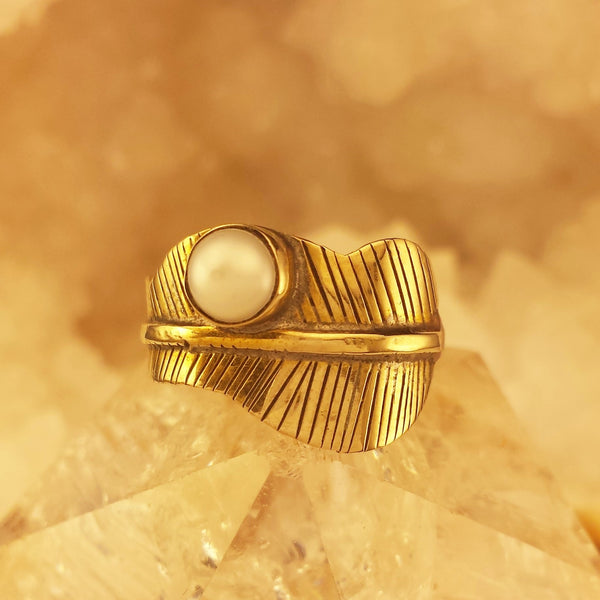 Feather Design Brass Ring BR-B40