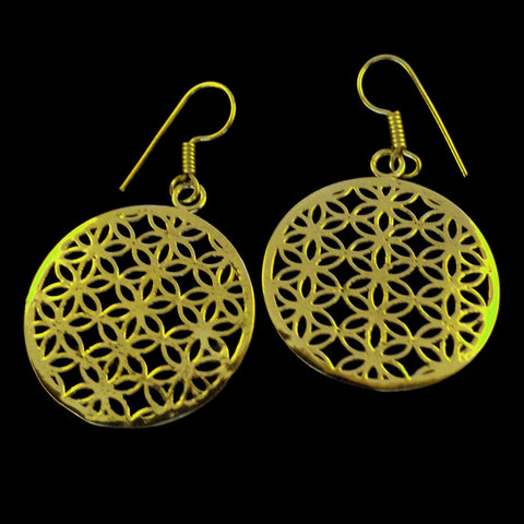 Sacred Geometry Brass Earrings - BS-B16D