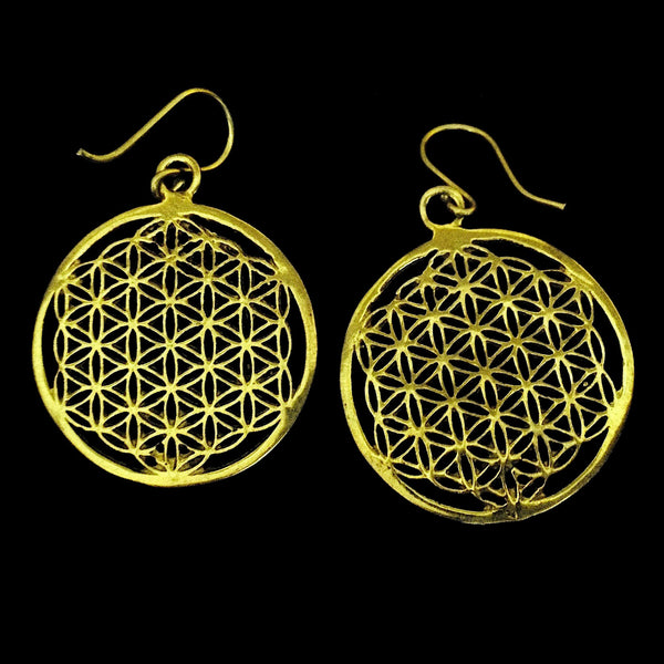 Indian Brass Earrings - Sacred Geometry - BS-B16