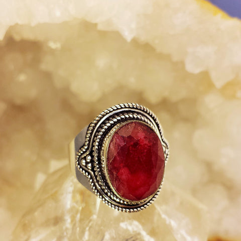 Indian Ring With Raw Ruby  GR-A12