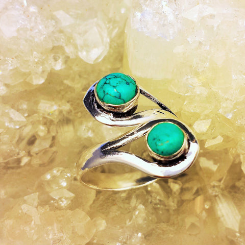 Adjustable Brass Ring With Turquoise GR-B20